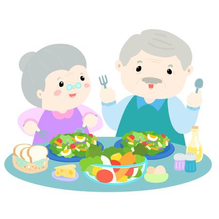 pareja comiendo: amor mayor que come las verduras frescas ilustración de dibujos animados