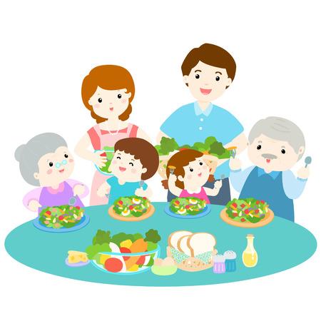 family love eating fresh vegetable cartoon illustration