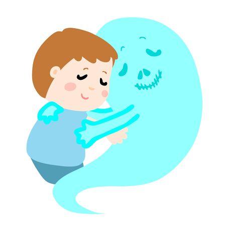 concede: cute boy dont fear devil death symbol vector illustration Illustration