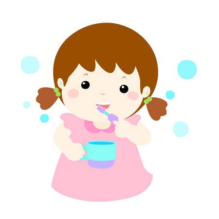 girl love brush teeth vector cartoon illustration