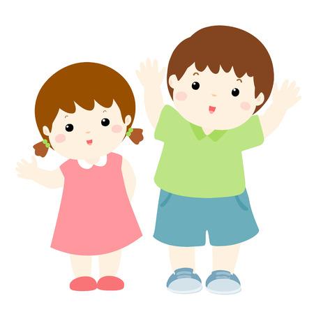niño feliz y la ilustración del vector del carácter de dibujos animados chica