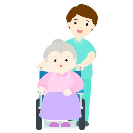 grandma: happy grandma at nursing home with caregiver illustration