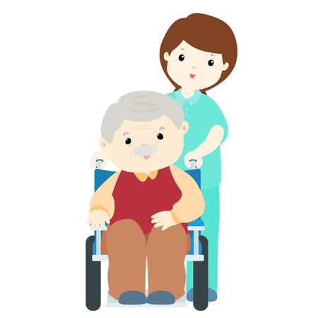 gelukkig opa bij verpleeghuis met verzorger illustratie