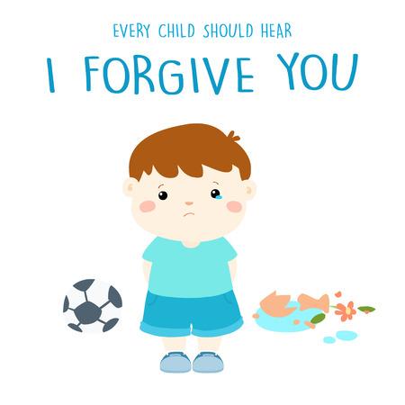 smutny chłopiec ze złamaną uzyskać wybaczając waza ilustracji