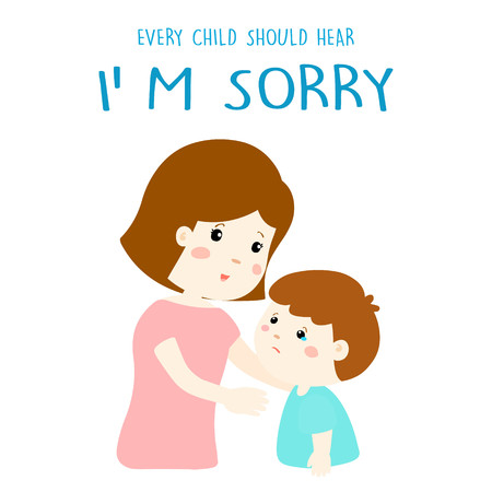 mother gently tell her son I'm sorry illustration