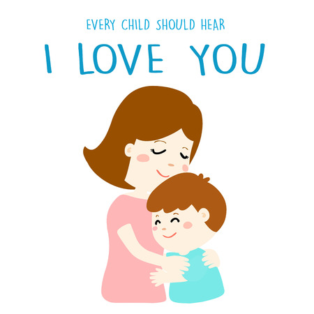 relationship love: mother gently hug her son and tell him I love you illustration