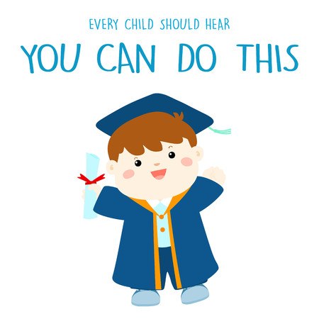 toga y birrete: graduado de niño feliz en traje de académico ilustración vectorial de dibujos animados