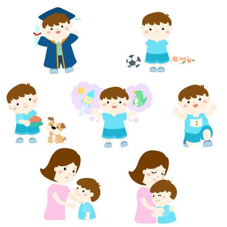 Pack of variety boy activity cartoon character vector illustration