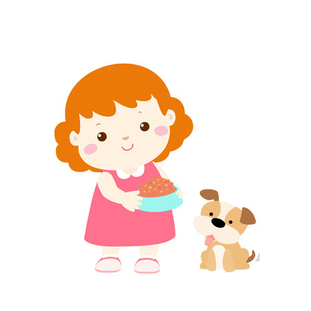 grown with love: little girl who is responsible for feeding her dog vector illustrationillustration