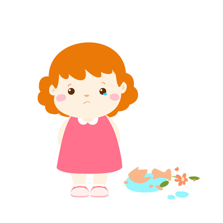 little girl broken vase feel guilty cartoon vector illustration