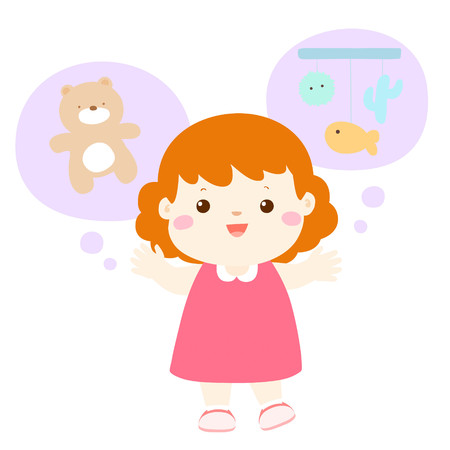 talkative: little girl in pink dress talkative lively cartoon vector Illustration