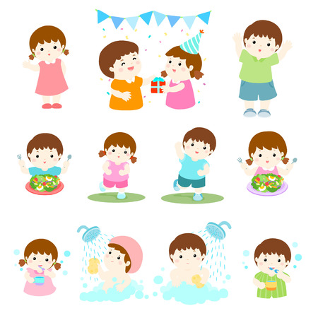 grown with love: pack of children character cartoon vector illustration