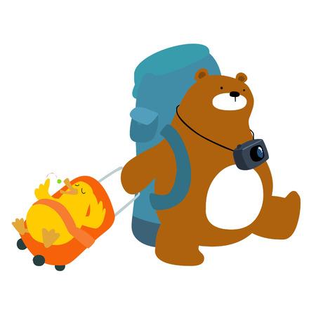 cushy: Baear and duck backpacks traveler cute cartoon vector illustration Illustration