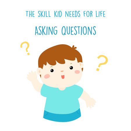 raise hand: Cute boy raise hand for asking question vector illustration