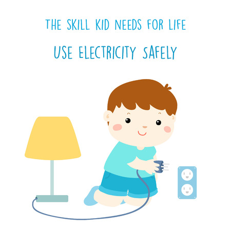 Cute boy try to plug in the light vector illustration
