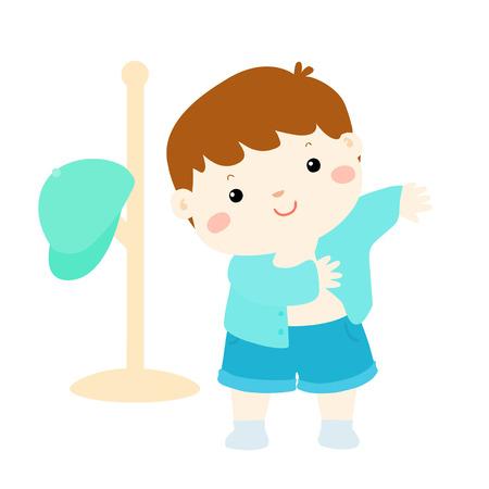 niños vistiendose: niño de dibujos animados vestirse a sí mismo Vectores