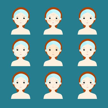 variety problem skin women face illustration