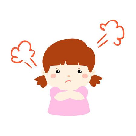 cute cartoon frustrated girl character illustration Illustration