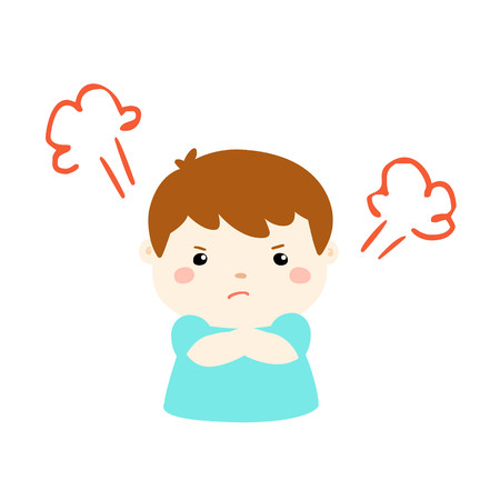irate: cute cartoon frustrated boy character illustration Illustration