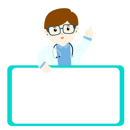 describe: Doctor explains and holds a blank white board illustration Illustration