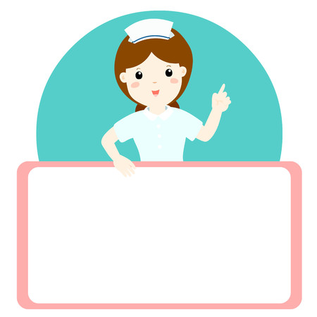 holds: Nurse explains and holds a blank white board illustration