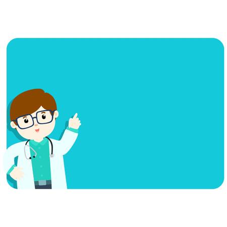 explains: Doctor explains at the blank board illustration Illustration