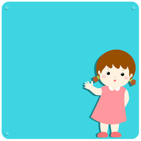 Cute girl explains at the blank board Illustration