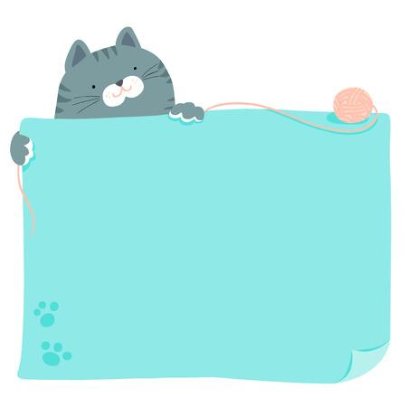 Cute blue cat hold empty board vector illustration