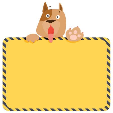 Cute alert dog hold empty board vector illustration Иллюстрация