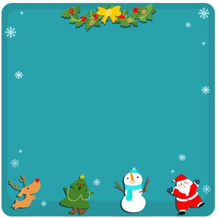 describe: Cute Christmas symbol empty board vector illustration Illustration