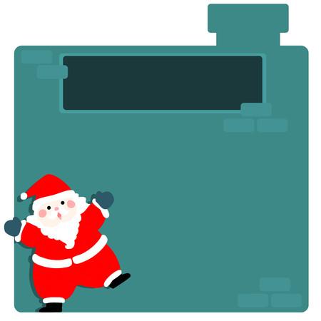 describe: Cute santa claus at empty board vector illustration