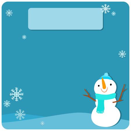 describe: Cute snowman at empty board vector illustration