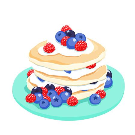 rich in vitamins: Mixed berry pancake graphi vector illustration