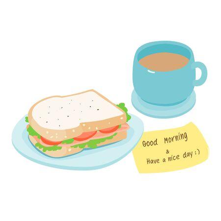 ham sandwich: Ham sandwich and hot coffee graphic vector illustration