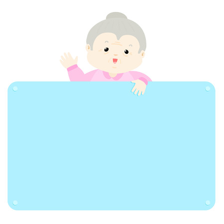 cartoon adult: Senior woman  hold empty board vector illustration