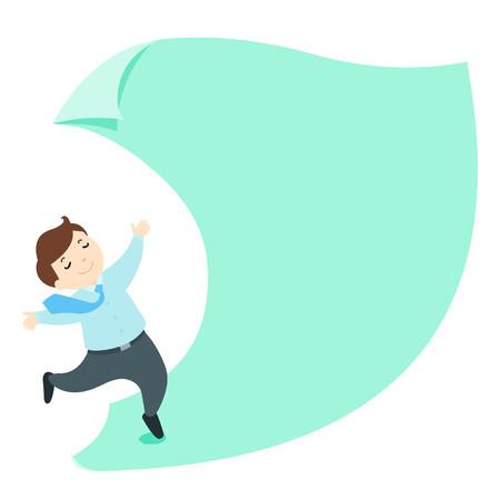 describe: Happy businessman on empty paper cartoon vector illustration