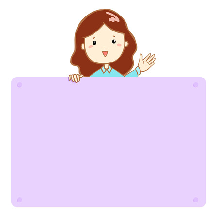 mather: Woman hold empty board cartoon vector illustration