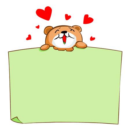 describe: Cute brown bear enjoy eat blank board vector illustration
