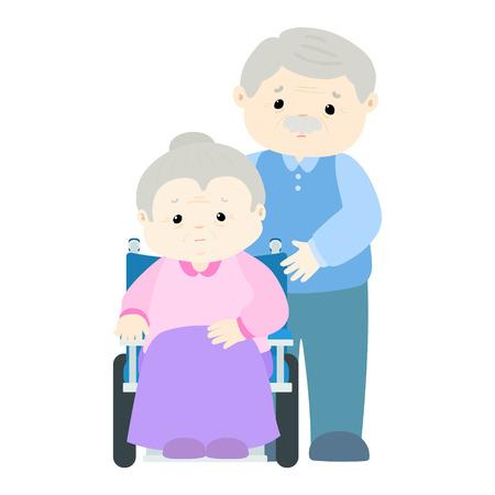 diseased: Sad senior woman patient sitting on wheelchair vector illustration
