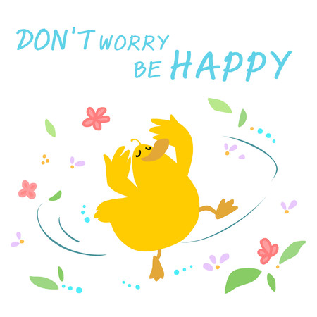 merry mood: Happy duck dance in the wind and blossom vector illustration Illustration