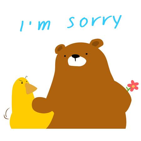 condone: cute bear say sorry to duck cartoon vector illustration