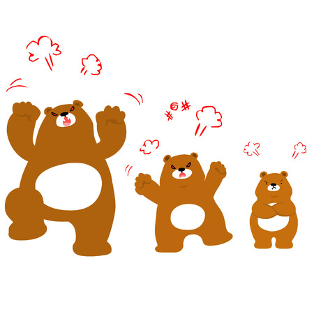 Mad bear family cartoon character vector illustration Illustration