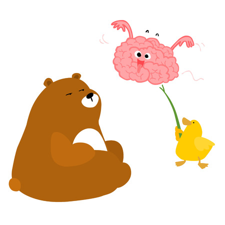 pervert: Bear duck and playful brain vector illustration Illustration
