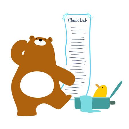 Bear checklist backpacking for traveler vector illustration Illustration
