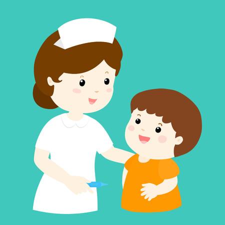 diseased: smiley nurse talk to boy character vector illustration