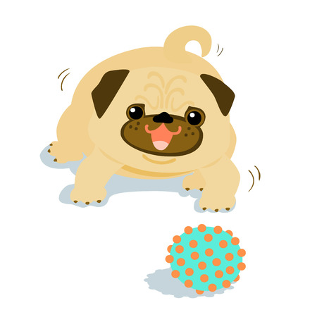 Happy Pug dog want to play a ball illustration Illustration
