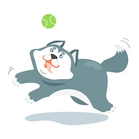 Funny siberian husky dog play a ball illustration cartoon