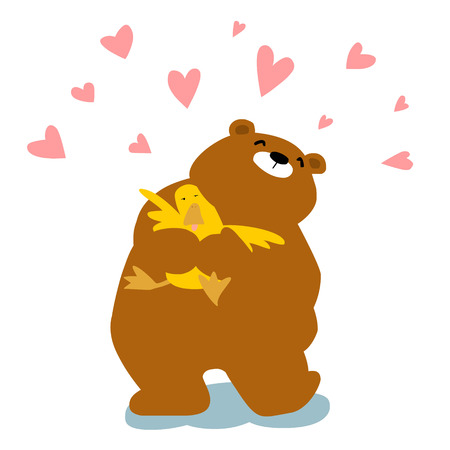 Big bear cuddle duck with love cartoon  illustration