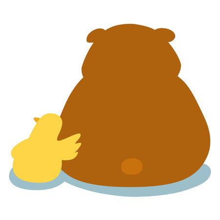 fondle: duck soothe bear cartoon character  illustration