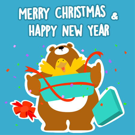 Bear and duck merry christmas and happy new year vector illustration Illustration